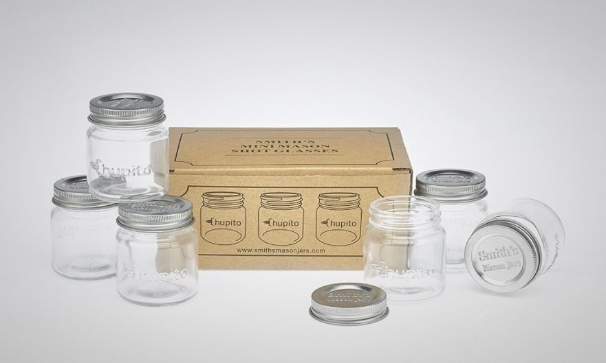 these mini mason jar shot glasses are perfect for shooting whiskey. Black Bedroom Furniture Sets. Home Design Ideas