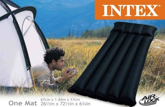 Intex Inflatable Fabric Camping Mattress with Built-In Pillow