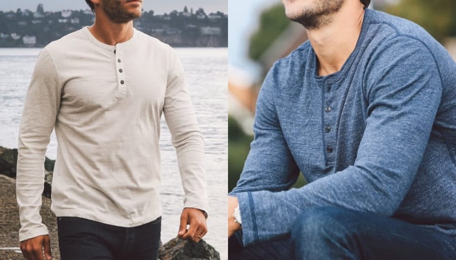 A henley does the usual plain t-shirt one better with its ability to combine fashion and comfort. Henleys usually have buttons, can come in both long-sleeve and short-sleeve styles, and they're missing a .