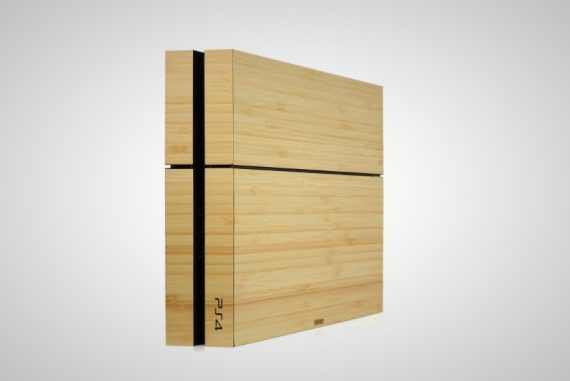 wooden Playstation 4 console case