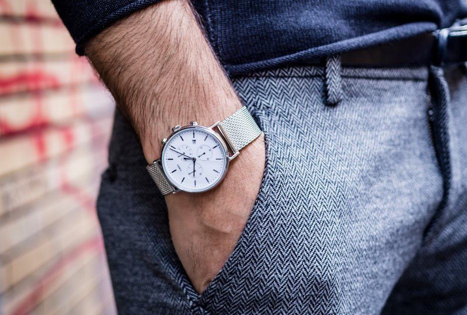 The Timex Fairfield Chronograph Mesh Band Watch Is