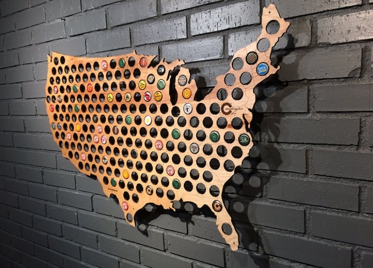 Man Cave Wall Art 3-foot wide beer cap usa map is perfect man cave wall art