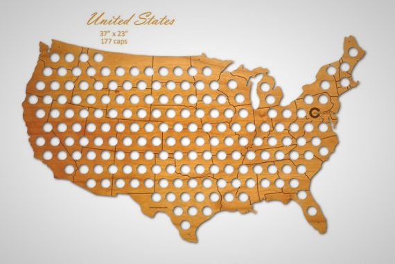 beer cap usa map