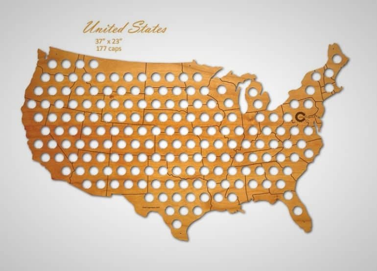 Man In The United States Map.3 Foot Wide Beer Cap Usa Map Is Perfect Man Cave Wall Art