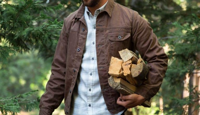 The Flint And Tinder Flannel Lined Waxed Trucker Jacket
