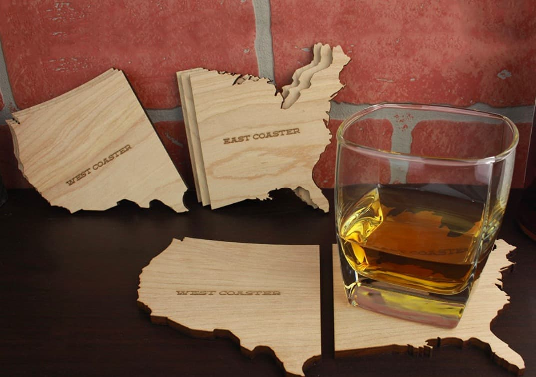East West Coast Drink Coasters Wood