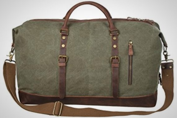 Oversized Leather Canvas Weekender