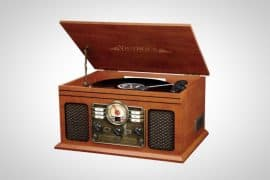 Victrola Bluetooth Turntable Mahogany Wood